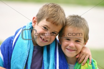 Boys with Beach Towels
