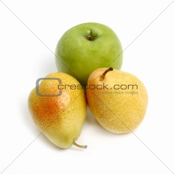 Green apple and yellow pear