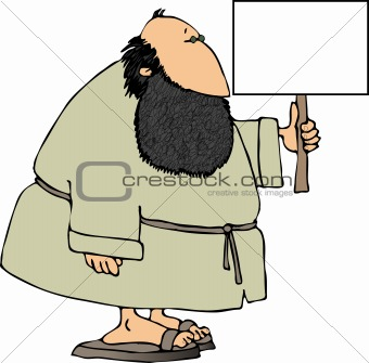 Bearded man with a sign