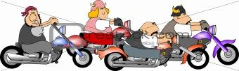 Four bikers