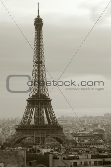 Overcast Paris and the Eiffel Tower