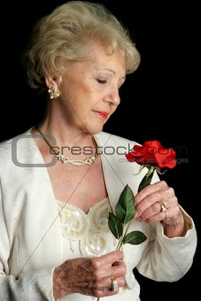 Elegant Senior Holds Rose
