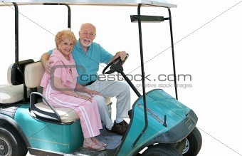 Golf Cart Seniors Isolated