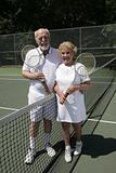 Senior Tennis Couple Full View