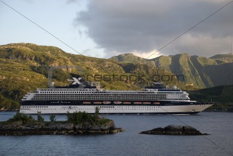 Tourist ship visiting norwegian fjords