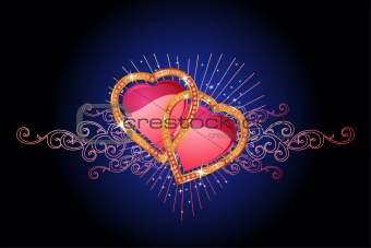 two  love hearts /  valentine and wedding /  vector