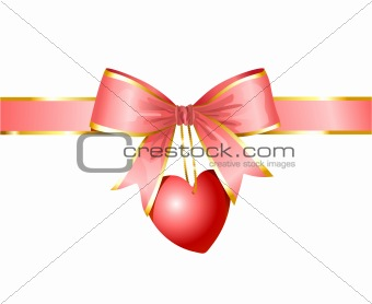 ribbon and heart / gift of love /  vector