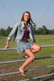 Country Girl On Fence