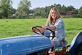 Girl Driving Tractor