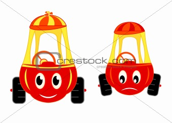 happy and unhappy child cars