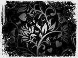 Abstract grunge background of vector floral design