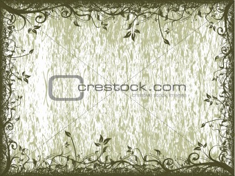 Abstract grungy floral frame