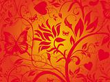 Abstract red grunge background of vector floral