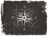 Compass panel in grunge white frame, illustration