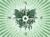 Compass panel on green grunge butterfly background