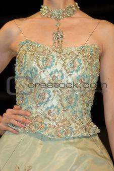 Green bride dress