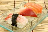 Shrimp, surf clam and salmon sushi