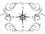 Compass panel on white floral background