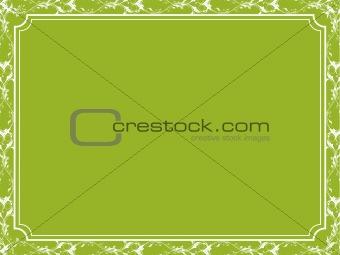 Floral border on green background, frame vector