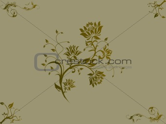 Floral Vector illustration of olive background