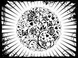 Grunge background of vector floral