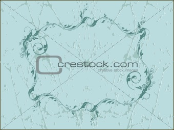 grunge flower on lightblue background frame, wallpaper