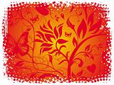 Grunge red background of vector floral