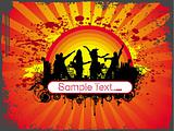 grunge wallpaper of silhouette dancing people in sample text theme