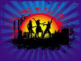 Sample text on silhouette dancing people background in black, wallpaper