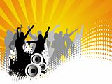 Vector background of dancing people