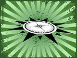 Vector illustration of compass on dark green background