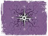 Vector illustration of compass on purple background