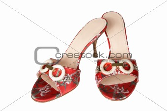 Red shoes with an ornament