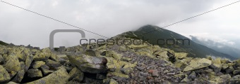 mountain, stones and clouds