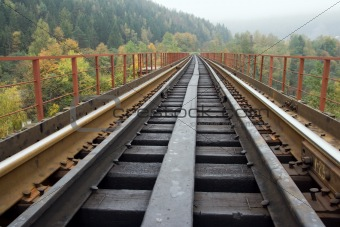 Railway on bridge across mountain river