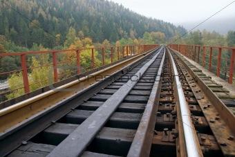 Railway on bridge across mountain river