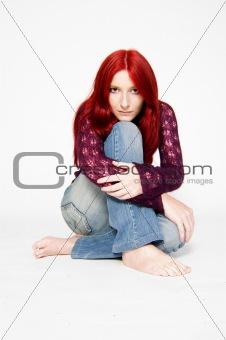 Pensive redhead