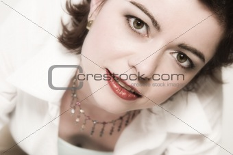 beautiful middle aged woman with red lips