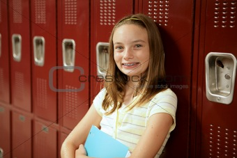 Cute Teen Girl by Lockers
