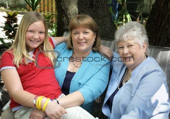 Mom Grandma & Daughter Outdoors
