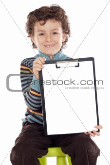 boy with clipboard