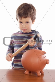 boy breaking the money box