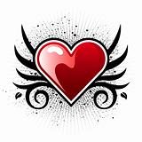 Heart with wings and grunge background
