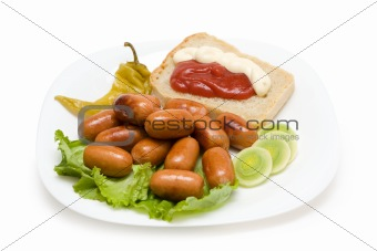 sausages with garnish