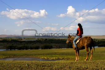Asian Girl Horse Riding