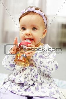 Cute baby drinking