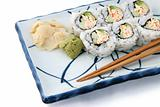 Sushi Roll Angled On White