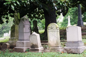 Tombstones in Cemetary
