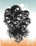 Rising skulls grunge vector illustration