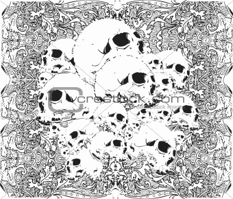 skulls grunge vector illustration